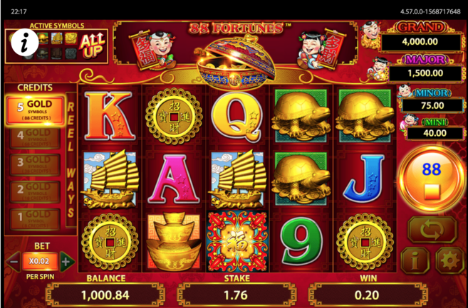 88 fortunes slot gameplay