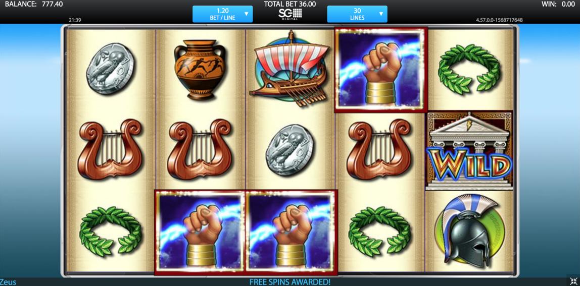 zeus free spins bonus