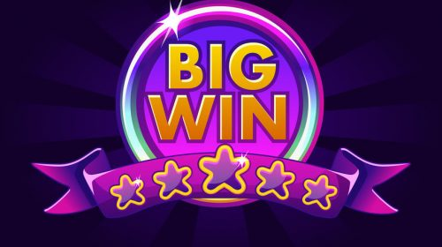 Big win banner background for online casino, poker, roulette, slot machines, card games.