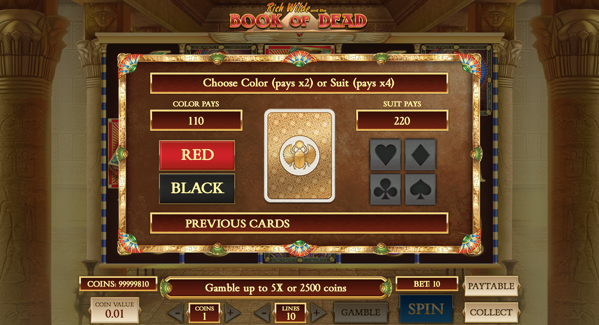 book of dead base game gamble feature